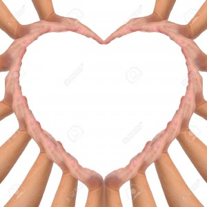 9407065-Conceptual-symbol-of-love-Hands-making-a-heart-shape-on-white-background-with-a-copy-space-in-the-mi-Stock-Photo